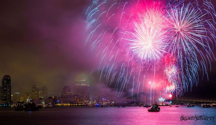 Fireworks over the bay