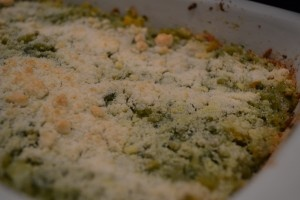 OMG this recipe is horrible! Orzo & Pesto Bake. Gag. I can't believe I served this to my guitar man; he ate it without complaint. Thank GOD for the Sister Shubert rolls!