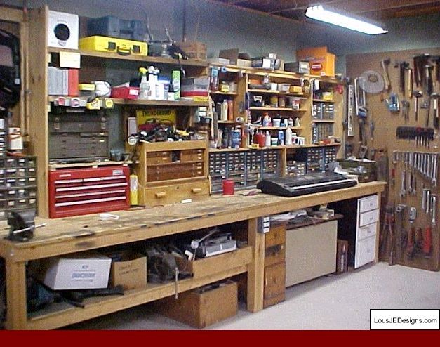 Garage Workshop Organization and Built Garage Workbench Plans.
