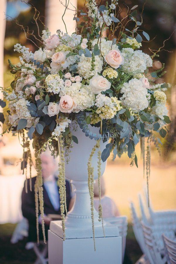Wedding Ceremony Decor Peonies Hydrangea Eucalyptus Fl Arrangement Neutral