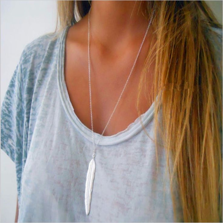 1pc fashion womens vintage long necklace jewelry silver gold plated simple feather pendant necklaces colar Free shiping