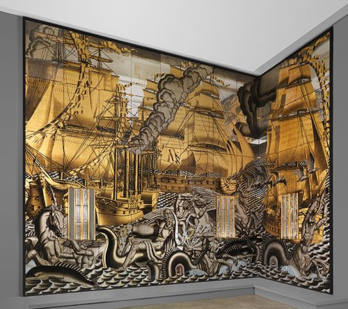 17 best images about ss normandie on pinterest french for Art nouveau mural