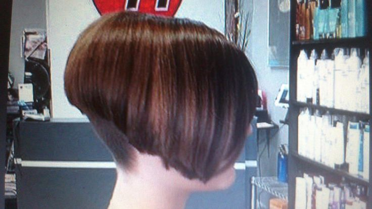 High nape line Angled Bob cut buzzed very tight at the