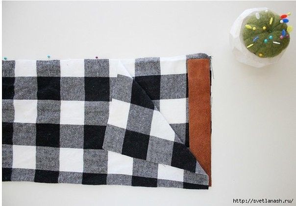 Шарф из ткани с отделкой кожей и кнопками (Шитье и крой) | Журнал Вдохновение Рукодельницы