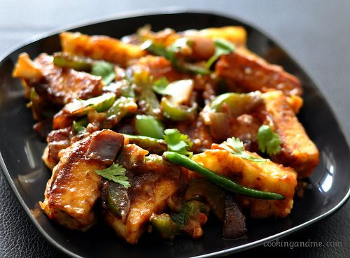 Chilli Paneer Recipe- I wish I could get some Paneer around here, it tastes like a cheesy tofu melt in your mouth kind of thing