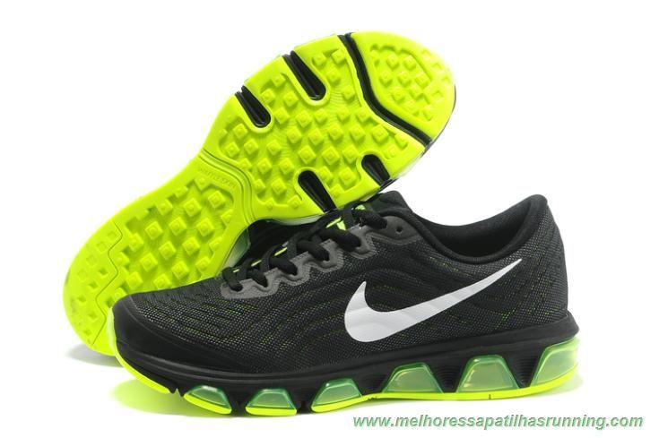 621225-409 Preto / Fluorescent Verde 2015 Nike Air Max Tailwind 6 novo tenis da