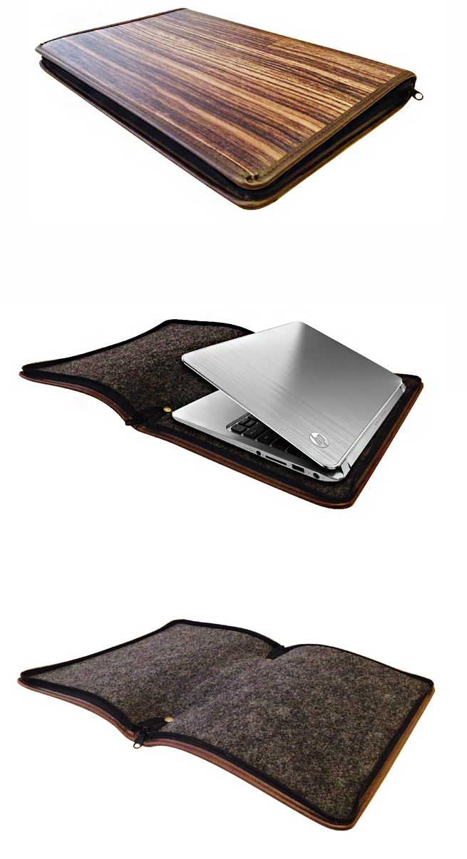 A Laptop Sleeve for HP ENVY 4 Ultrabook. To make the use of the urban image of a simple and stylish PC, ENVY 4, we utilized wood grain, which has been our representative since MODECO's foundation. We also put interior materials that are used for car trunks together to express modern and chic contrasting the stylish design of ENVY 4.