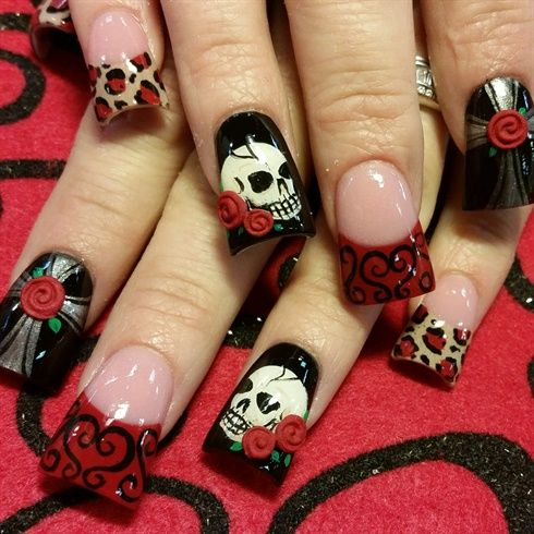 skulls and roses by Oli123 from Nail Art Gallery