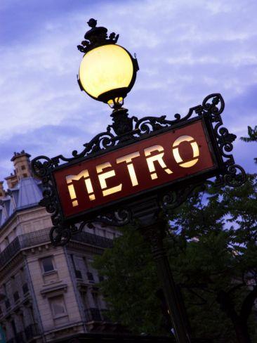 Classic Art Nouveau Metro Sign at Odeon Metro Station, Paris, France Photographic Print  (Beginning of City Walk 18)