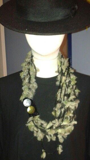 Le mie collane in lana con applicazioni in vari materiali.