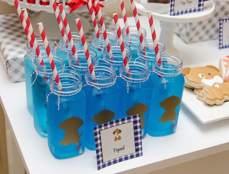 Fun drinks at a puppy birthday party! See more party planning ideas at CatchMyParty.com!