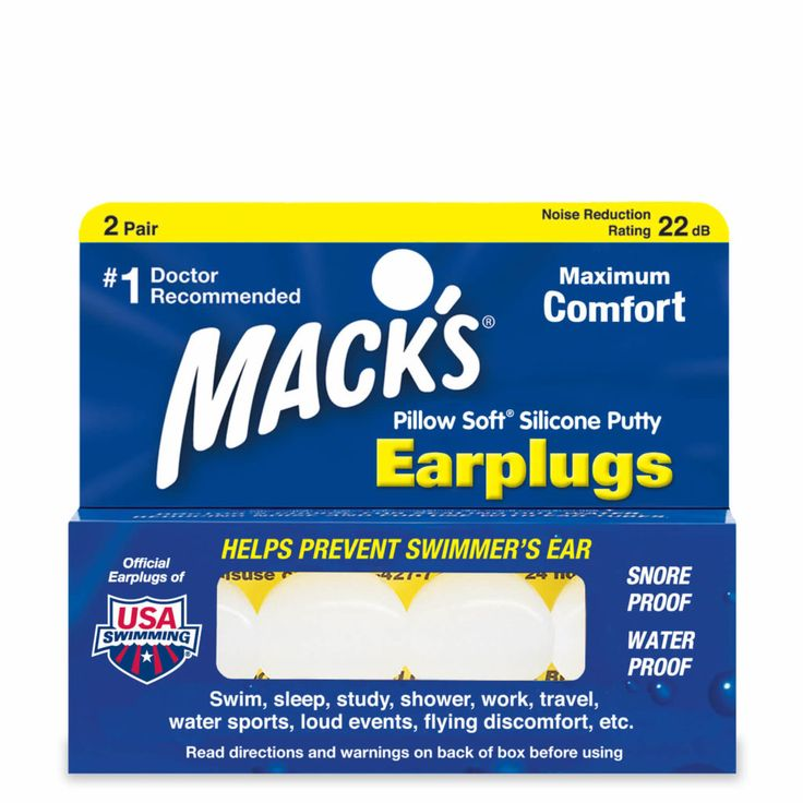 USA's original and #1-selling moldable silicone ear plugs   The ultimate in earplug comfort, Mack's® silicone putty molds to the unique contours of any ear   #1 Doctor Recommended Brand to get a good night's sleep when sleeping with a snoring spouse   #1 Doctor Recommended Brand to help prevent swimmer's ear infections   Provides a better, more comfortable fit and seal than custom ear plugs   Safe for use with ear tubes   Provides protection after surgeries   Helps relieve ear pai...