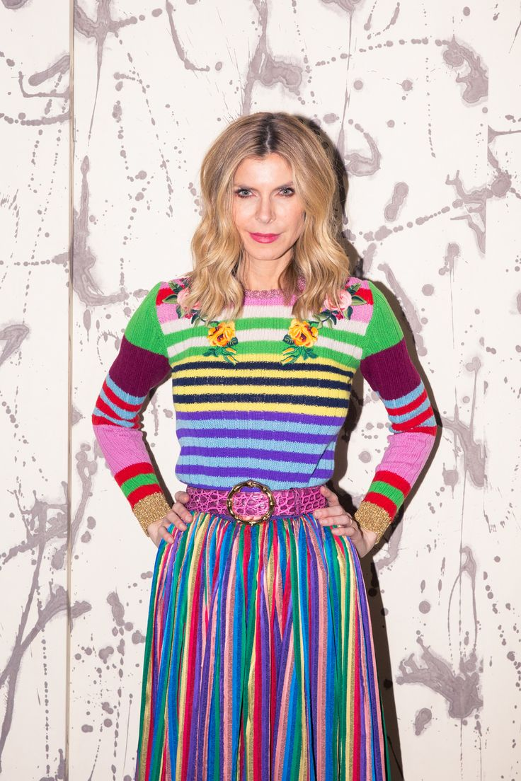 Inside Finery Founder Whitney Casey's Closet: When someone has as much energy and personality as Casey does, they usually have a wardrobe to match, which was exactly the case when we finally dug into the goods in her bedroom-sized-by-NYC-standards closet. -- Rainbow striped skirt and sweater  |  coveteur.com