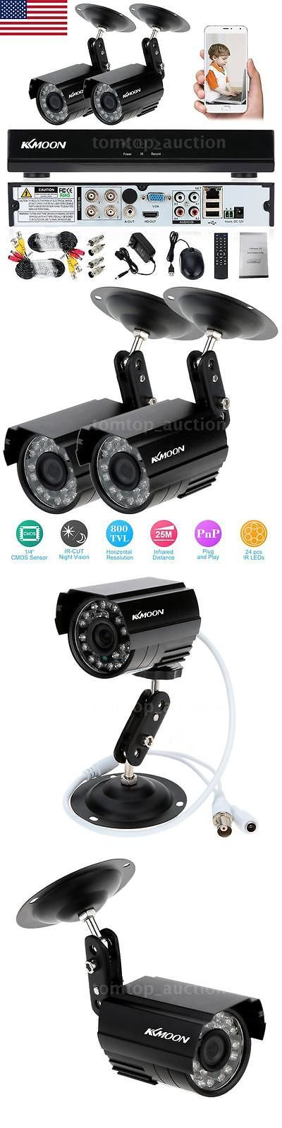 Surveillance Security Systems: Kkmoon 4Ch 960H Dvr 2Pcs Outdoor 800Tvl Night Vision Cctv Security Camera System BUY IT NOW ONLY: $56.9