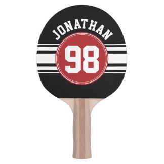 Black and Red Sports Jersey Custom Name Number Ping-Pong Paddle