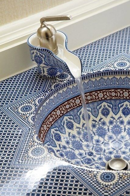 Blue and White Mosaic Sink