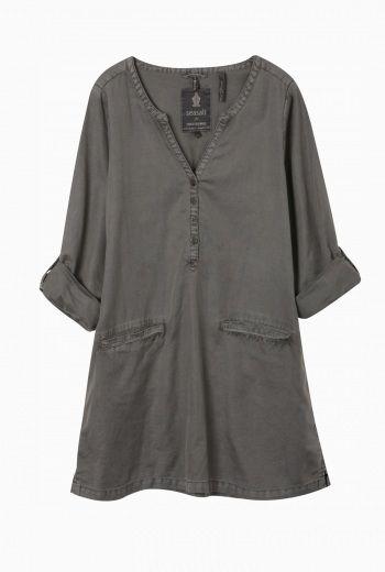 Sea Salt / Sepia Smock | Cotton and linen smock dress