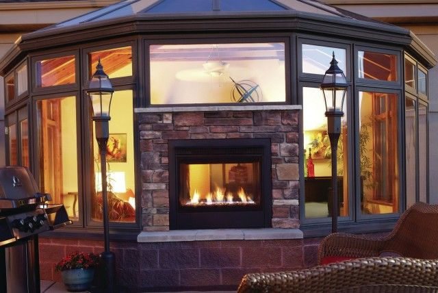 2 Sided Fireplace Indoor Outdoor 640 428 For Our Home Pinterest