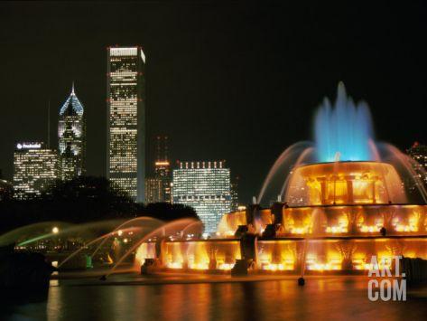 Buckingham Fountain, Grant Park, Chicago, Illinois, USA Photographic Print at Art.com
