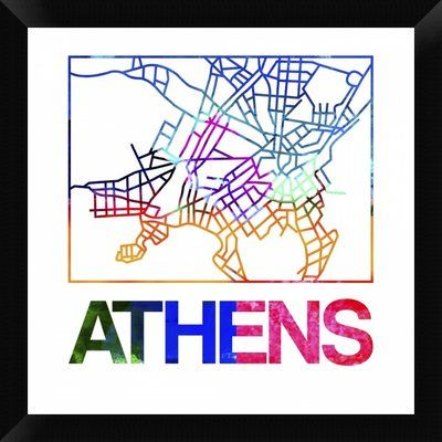 Naxart \'Athens Watercolor Street Map\' Framed Graphic Art Print on ...