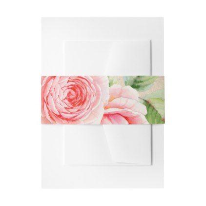Romantic Watercolor Rose Invitation Belly Bands Invitation Belly Band - rustic wedding marriage love cyo