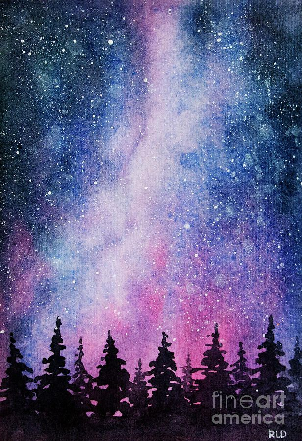 Original Is Sold Starry Night By Rebecca Davis Watercolor Sky Art Painting Starry Night Painting Night Sky Painting