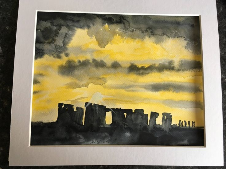 Stonehenge sunset watercolour in mount by KnottyThistle on Etsy
