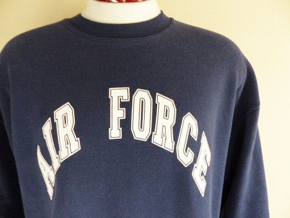 vintage 90's United States US Air Force ROTC navy blue fleece graphic sweatshirt white curve block spellout logo print crew neck pullover XL
