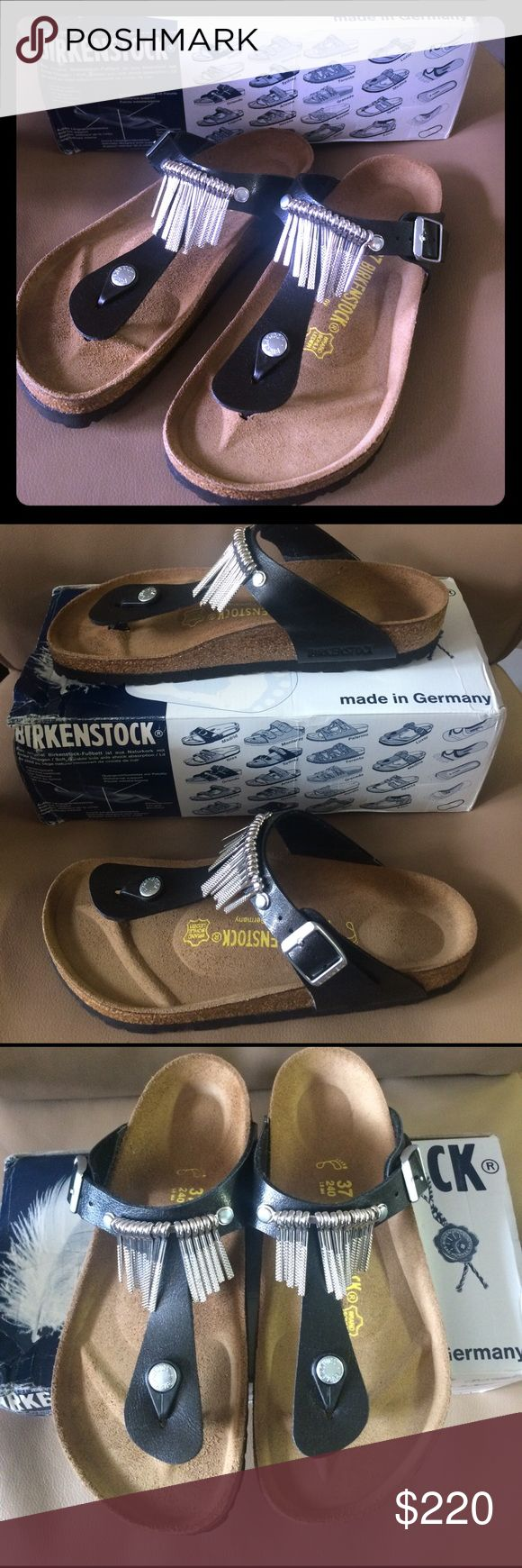 Birkenstock Gizeh Fringe Sandal New, never worn, super cute, sold out, hard to find, size 37 (I wear anywhere from size 7 to 8 and they fit me). Priced high but I paid a lot more than retail for them and I just want to make my money back. Birkenstock Shoes
