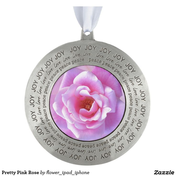 Pretty Pink Rose Round Pewter Christmas Ornament