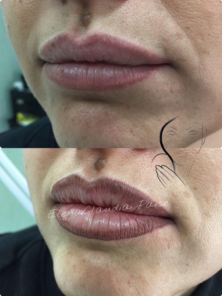 PMU - tatuaggio contro labbra con sfumatura
