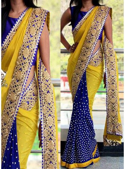 Yellow & Royal Blue Half Half Concept Georgette With Sequence Saree-PN-1008