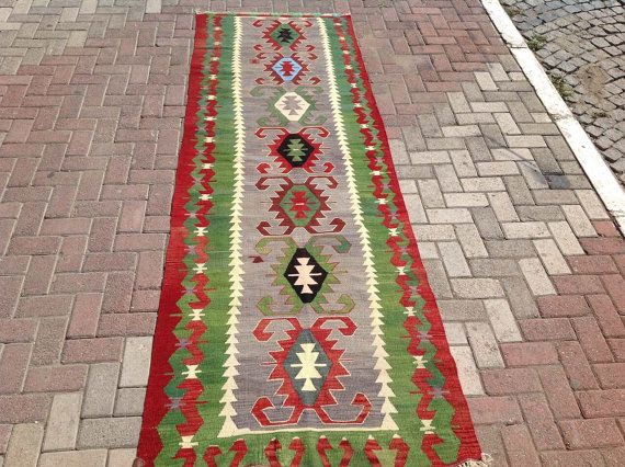 kilim runner green and red kilim runner rug vintage turkish kilim runner rug runner runner rug vintage hallway runner rug bohemian058