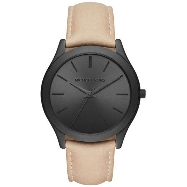 Michael Kors Black Mens Slim Runway Black Leather Three-Hand Watch ($195) ❤ liked on Polyvore featuring men's fashion, men's jewelry, men's watches, black, mens watches, mens leather watches, blue dial mens watches, slim mens watches and michael kors mens watches