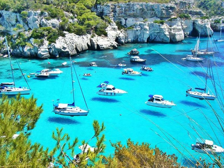 Hover boats on Menorca (or Minorca), one of the Balearic Islands located in the Mediterranean Sea belonging to Spain.