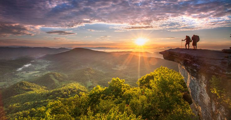 Hiking on McAfee Knob on the Appalachian Trail is a popular trail in the Roanoke Valley in Virginia's Blue Ridge.