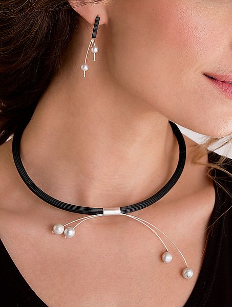 Double Pearl Earrings and Pendulum Necklace by Dagmara Costello: Rubber and Pearl Necklace available at www.artfulhome.com