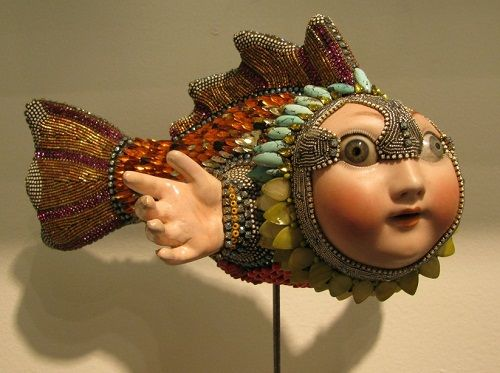 Jewelry sculpture covered with mosaic of bead by American artist jeweler Betsy Angkvist