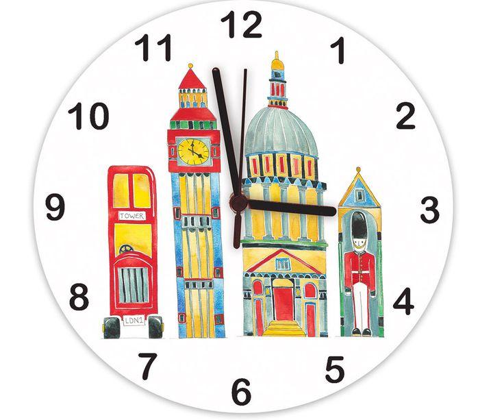 London Clock, Kids Clock, Wall Clocks, Children's Clocks, Kids Clocks UK by TigerlilyprintsLtd on Etsy