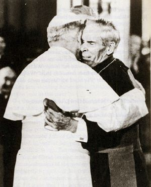 "This a deeply moving photo of John Paul II embracing Bishop Fulton Sheen in 1979 at his jubilee, where he embraced  the Bishop and saying,  "" You have written and spoken well of the Lord Jesus Christ, you are a good and loyal son of the Church."""