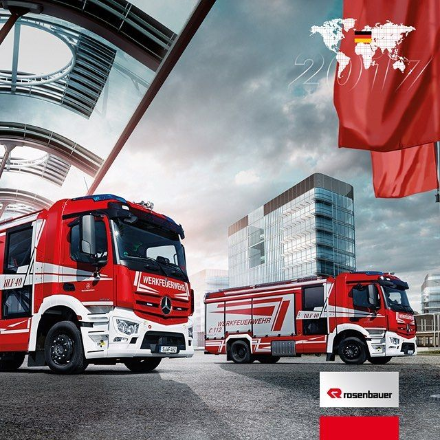 New month - new calendar image!  In May, the two new HLFs on the Antos of the Daimler AG factory fire department glisten from the Rosenbauer calendar.   #rosenbauercalendar #myrosenbauer #firefighter #firefighting #AT #HLF #Hilfslöschfahrzeug #antos #daimler #feuerwehr #feuerwehrfahrzeug