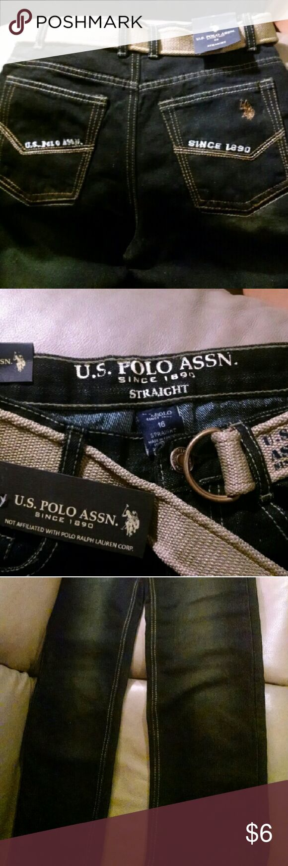Boys Polo Jeans w/ belt NWT - needs zipper repair Brand new boys jeans by U.S. Polo Association with belt. Still has all tags.Broken zipper, see pics. U.S. Polo Assn. Bottoms Jeans
