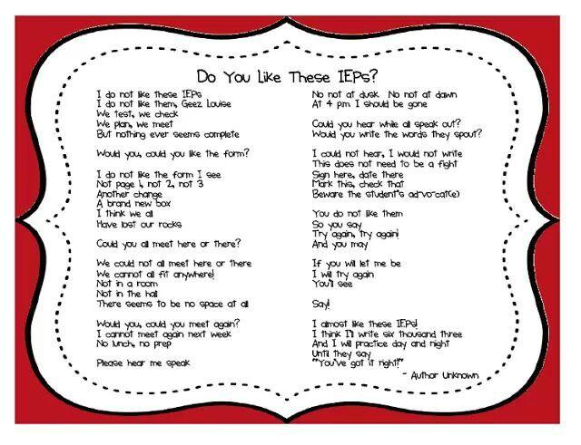 Special Education Teacher, Iep Poem, Teaching Blog, Iep S, Seuss Iep ...