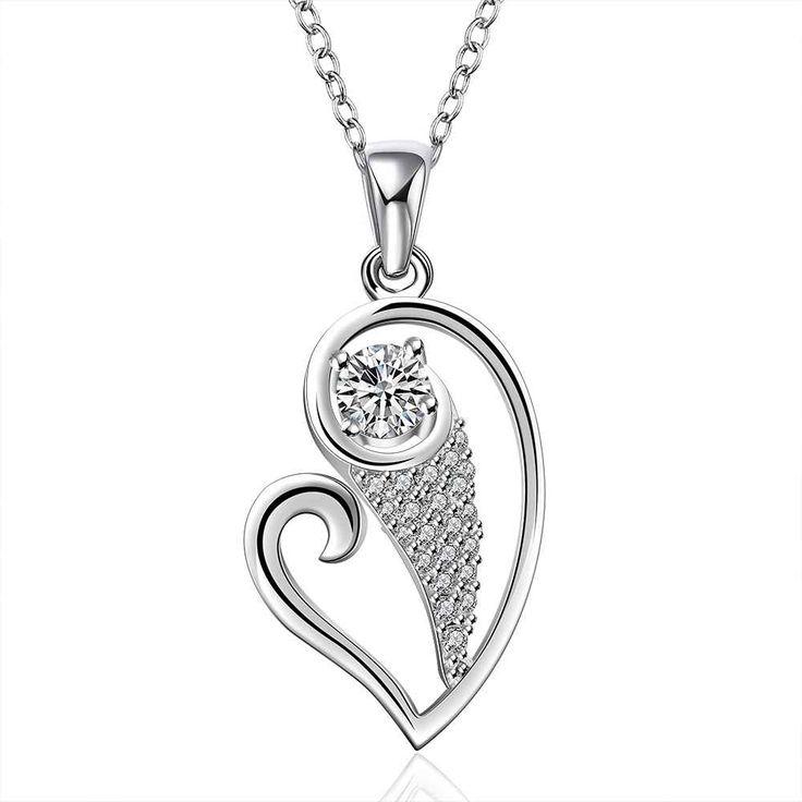 Купить Бесплатная доставка 2015 прекрасный серебряные ожерелья в форме сердца nj…