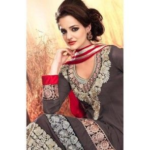 Gray Faux Georgette & Net Anarkali Suit