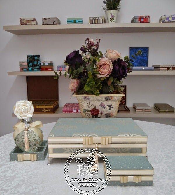paleta de cores utilizadas nestas chiquérrimas caixas para Toaletes: Mint & Caramelo. Lindo? Eu amei...Luxo necessário: Kit Costurinha...Show de estampa...A personalização dos produtos no tom  ...