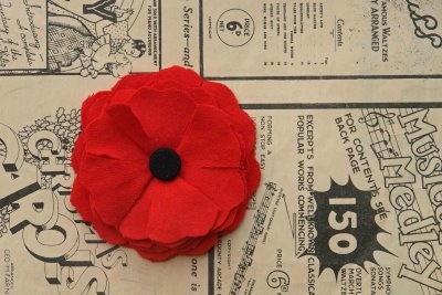 poppies to make for Anzac Day wreath