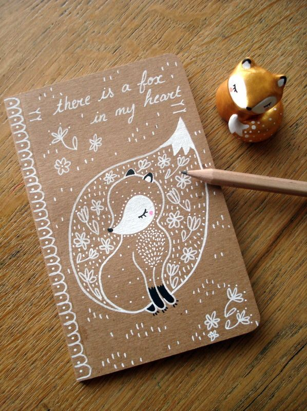 "épinglé par ❃❀CM❁✿Carnet ""There is a fox in my heart "" oMamaWolf illustration originale sur carnet kraft 14 x 9 cm 30 pages"