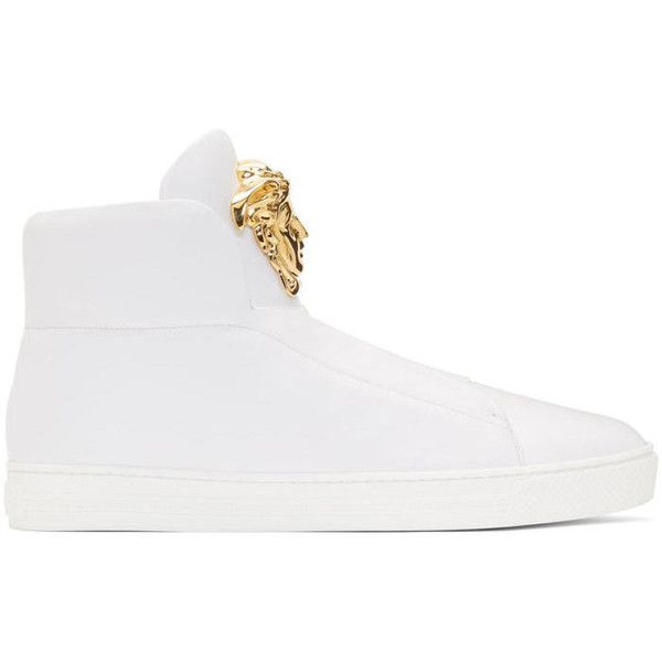 Versace White Palazzo Slip-On Sneakers ($1,265) ❤ liked on Polyvore featuring men's fashion, men's shoes, men's sneakers, white, mens slip on shoes, mens high top shoes, mens slipon shoes, mens leopard print shoes and mens white high top shoes