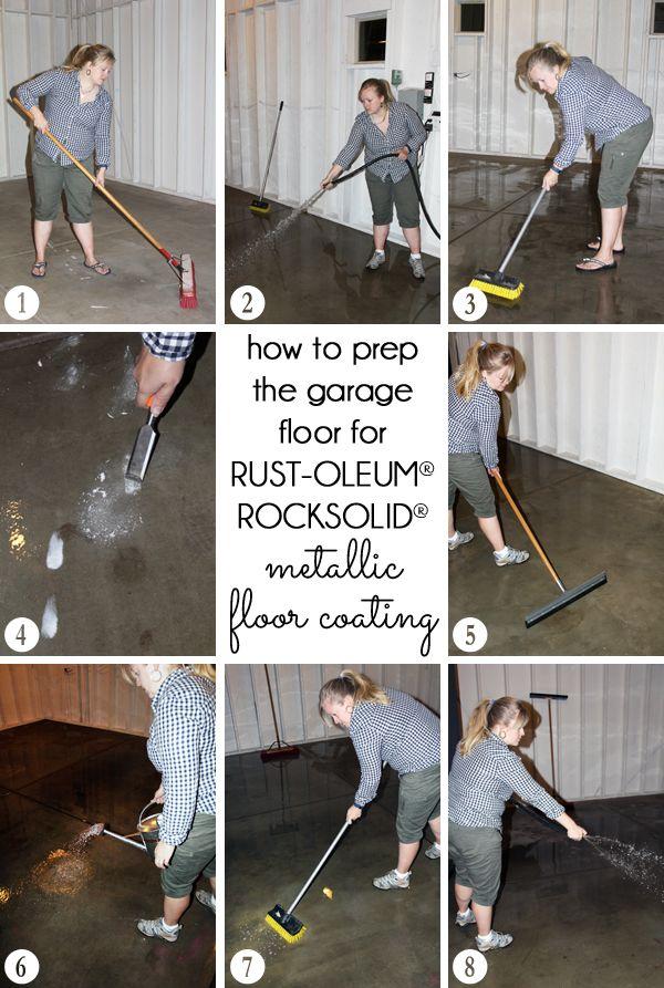 How to clean and prep the garage floor for Rust-Oleum RockSolid Metallic  Floor Coating